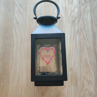 Lantern with Red and Black Sparkly Hearts