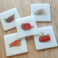 Country Kitchen Style Heirloom Vegetable Coasters