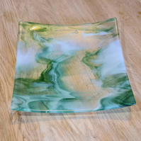 Extra Large Smoky Green, White and Clear Glass Dish