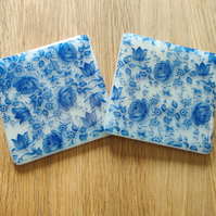 Blue Floral and Pale Pink Coaster - limited quantity available
