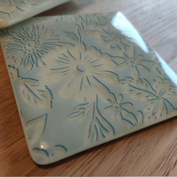 Light Blue and Cream Floral Coaster - limited quantity available
