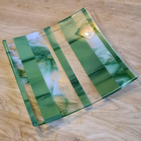 Extra Large Smoky Green, White and Clear Striped Glass Dish