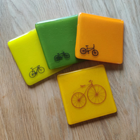Yellow Orange or Green Bicycle Coaster - limited run