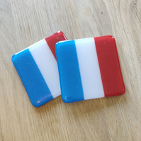 French Flag Coaster - Blue White and Red Stripes