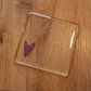 Clear Glass Coaster with Small Angular Copper Heart Detail