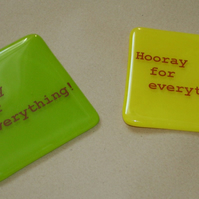 HOORAY For Everything Printed Coasters - made to order in any colour