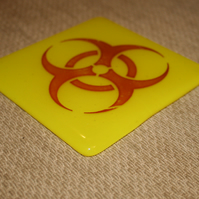 Bright Yellow Scientific Hazard Symbol Coaster