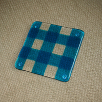 Gingham Coaster - Clear and Transparent Colourful Glass