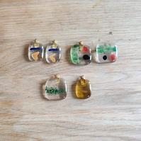 Assorted Glass Pendants and Brooches