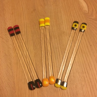 1 Pair of Red or Yellow or Orange Glass Cocktail Stirrers