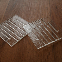 Crystal Clear Raised 3D Stripe Coasters
