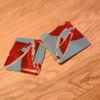 Melted Scrap Coasters - Red and Blue Glass