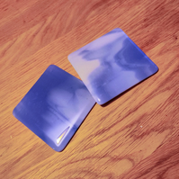 Blue and White Streaky Coaster
