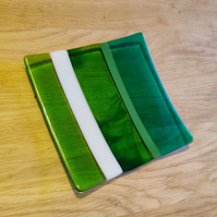 Striped Sparkly Green and White Square Dish