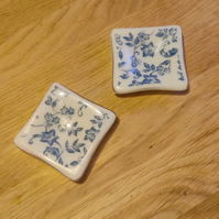 Blue and White Floral Candle Dish - pair