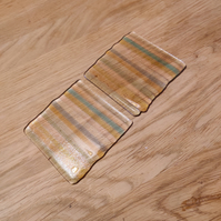 Clear and Tinted Glass Stripes Coaster
