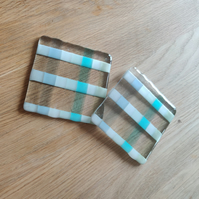 White and Tinted Glass Stripes Coaster