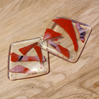 Melted Scrap Coasters - Red and Clear Glass