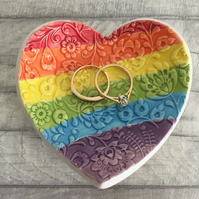 Rainbow themed ceramic heart trinket dish, ring dish, jewellery dish.