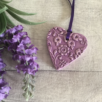 Ceramic textured hanging heart shaped decoration - Small