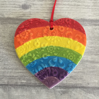 Ceramic textured rainbow hanging heart shaped decoration - Large