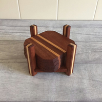 Wooden coasters complete with stand, recycled wood, handmade, set of 4