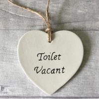 Toilet door sign, plaque, ceramic heart, toilet vacant, toilet engaged.