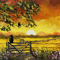 Print of 'Cat on the Gate on a Panoramic Canvas'