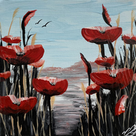 Print from Abstract poppies against a Blue Sky