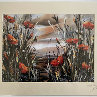Large print from Orange Poppies against an Orange Sky