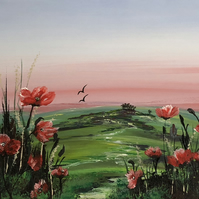 Print of 'Red Poppies in a Green Field'