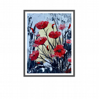 Print of Abstract Textured Poppies