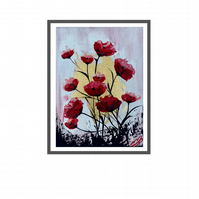 Print of Red Poppies against a Pink Sky