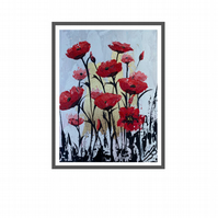 Print of Poppies on Gold Leaf