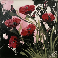 Red Poppies with Green Leaves