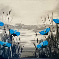 Print of Blue Poppies on a Panoramic Canvas