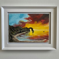 Durdle Door at Sunset in a Frame