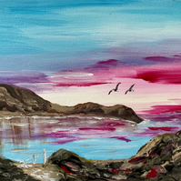 Print of Red Sunrise over Lulworth Cove