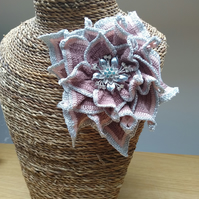 Large Appliqué or Brooch Flower - Coffee Pink and Grey