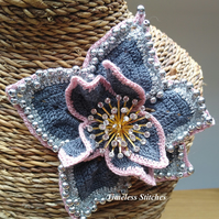 Pewter Grey Crochet Flower -Pastel pink & silver balls trim  - Brooch upcycled