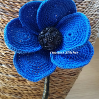 Blue Crochet Poppy - Supporting the NHS