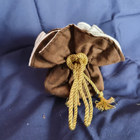 Gold Pouch - Large bag, White lining, Gold rope cord