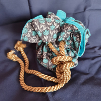 Blue Floral - Bright Blue lining, Black Eyelets, Gold rope cord