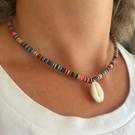 Cowrie Shell & Bright Vinyl Disc Bead Necklace, Surfer Girl Necklace