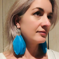 Feather Earrings, Blue Feather, Sterling Silver Chandelier Earrings