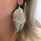 Silver Filigree Leaf Earrings, Statement Earrings