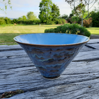 Medium ceramic blue cascade bowl