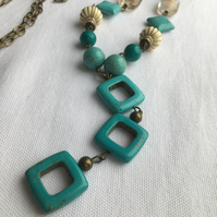 Long Antique Turquoise Necklace with Matching Earrings