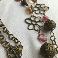 Long Antique Brass Necklace