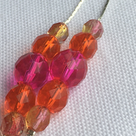 Silver Snake Chain With Pink and Orange Glass Beads